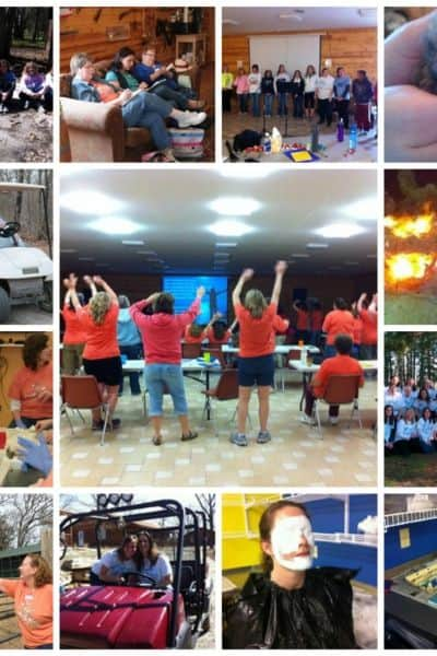 collage of women at Christian retreat