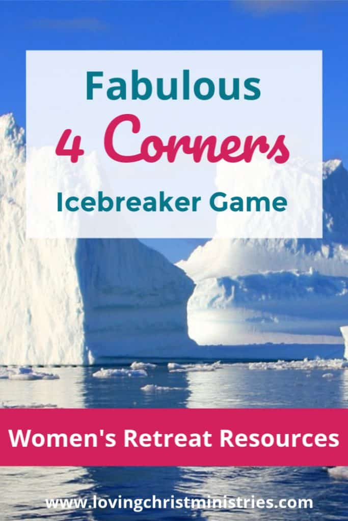 image of iceberg with title text overlay - Fabulous 4 Corners Icebreaker Game