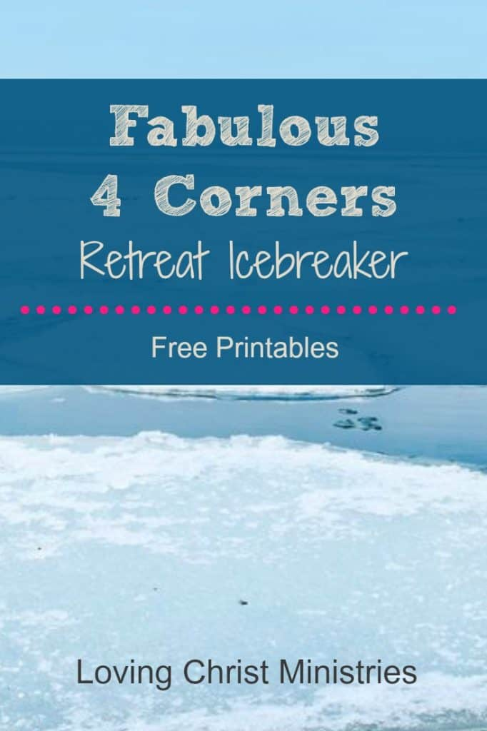 image of iceberg with title text overlay - Fabulous 4 Corners Retreat Icebreaker
