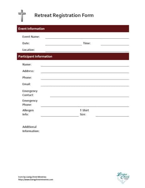 image of the free registration form from Loving Christ Ministries