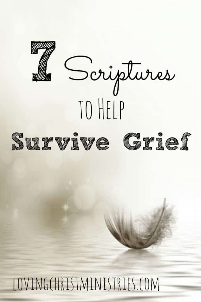 image of feather resting on ground with title text overlay - 7 Scriptures to Help Survive Grief