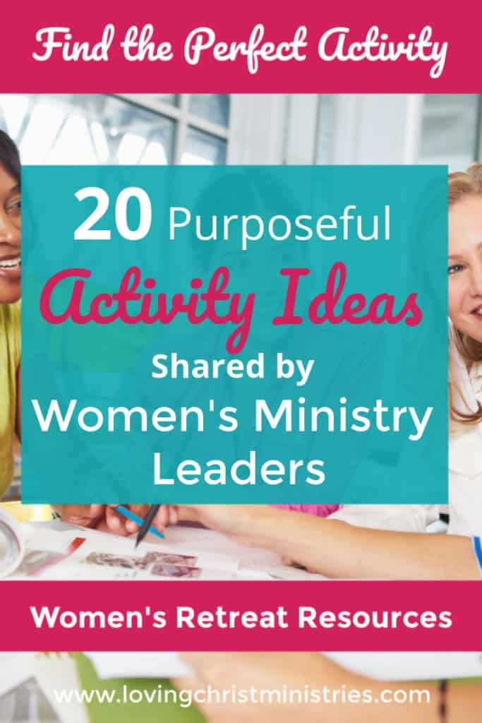 image of women gathered with title text overlay - 20 Purposeful Activity Ideas Shared by Women's Ministry Leaders