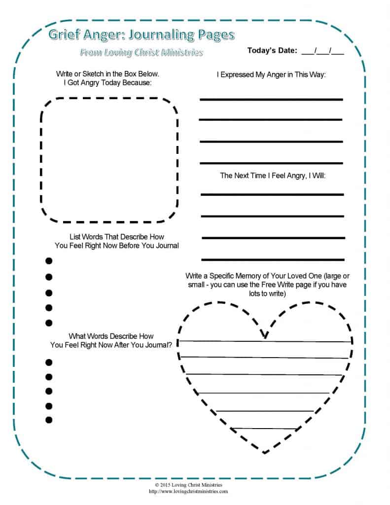 image of anger in grief printable journal pages