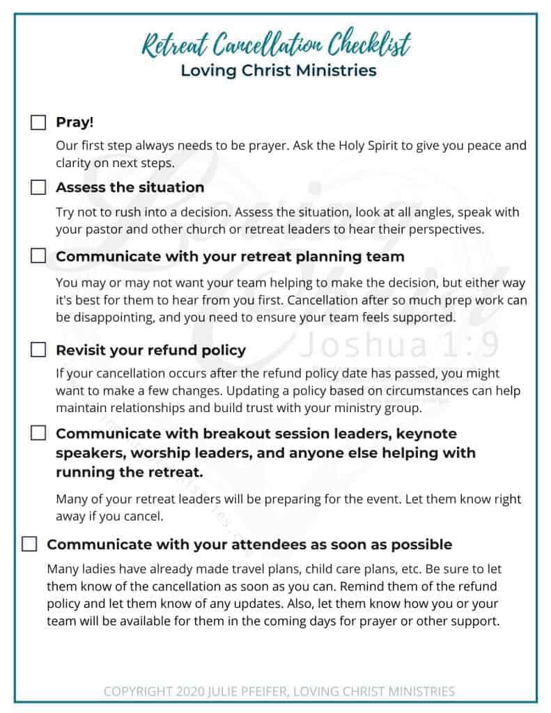 image of retreat cancellation checklist