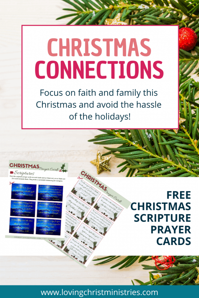 Christmas tree greenery with ornaments and mock up of Free Christmas Scripture Prayer Cards.