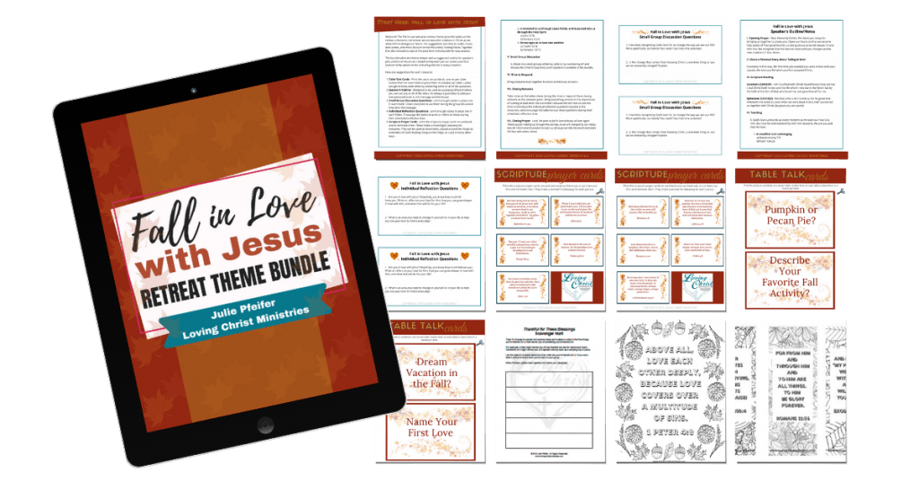 collage of pages in the Fall in Love with Jesus Retreat Theme Bundle
