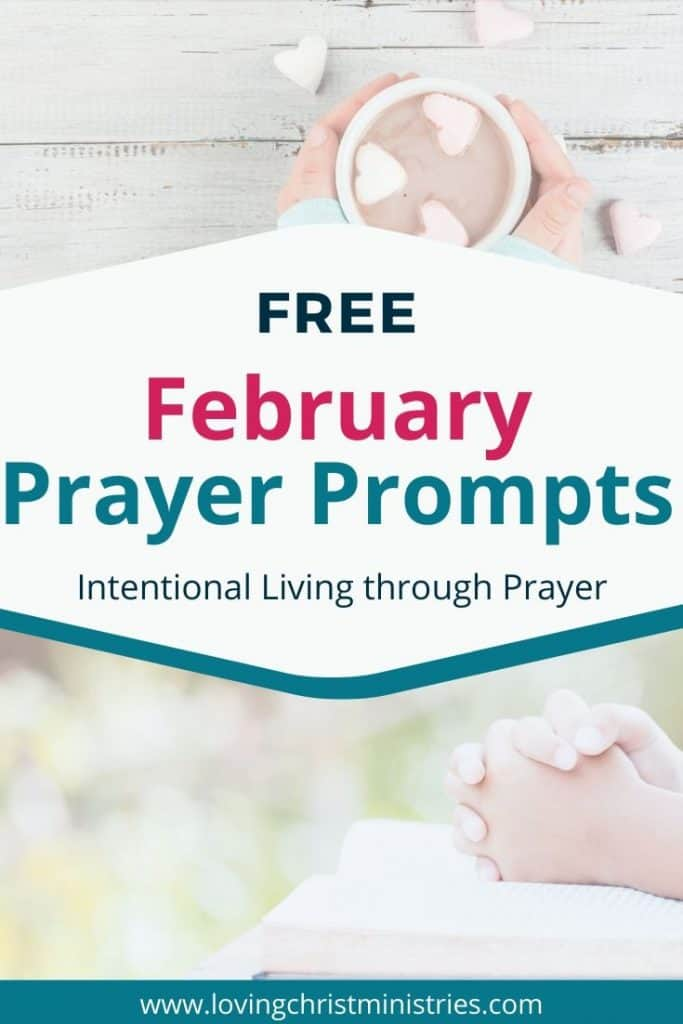 image of clasped hands and hot chocolate mug with heart-shaped marshmallows with title text overlay - Free February Prayer Journal Prompts