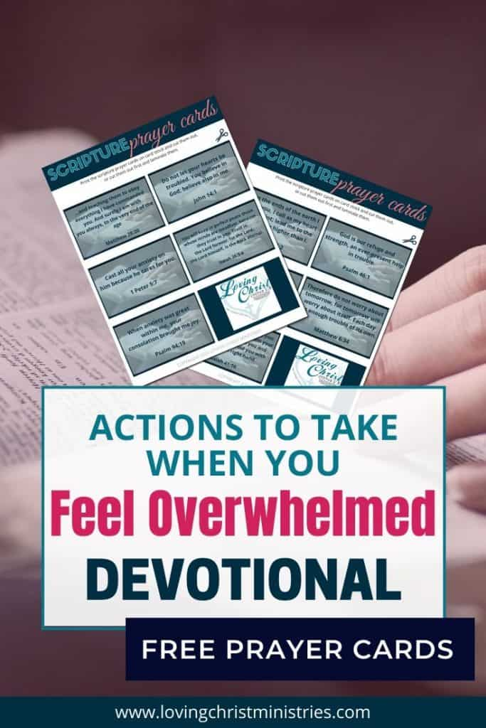 image of bible with title text overlay - Actions to Take When You Feel Overwhelmed Devotional