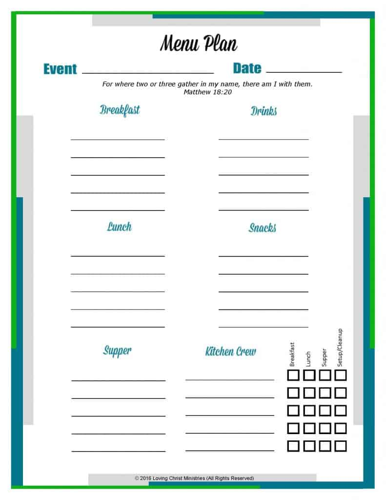 image of Retreat Planning Menu Worksheet