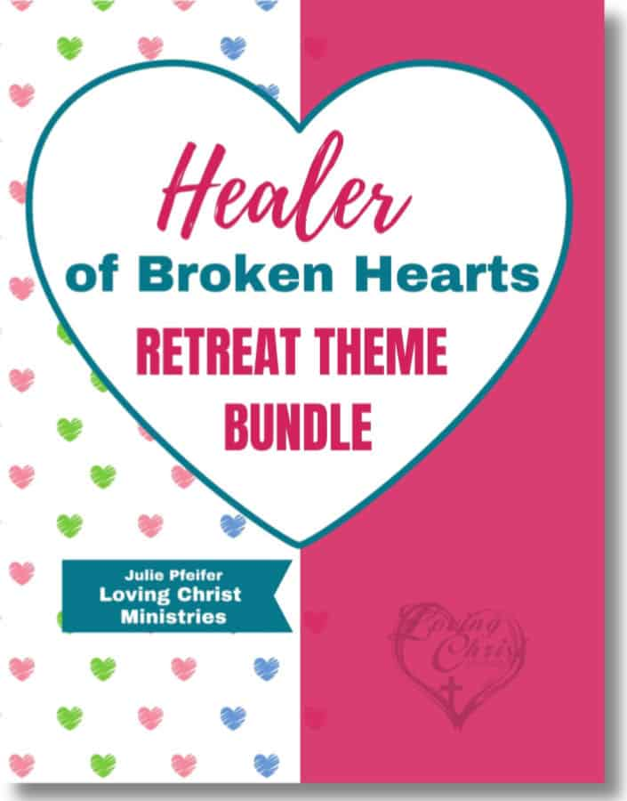 image of pink and white ebook cover with title text overlay - Healer of Broken Hearts Retreat Theme Bundle.