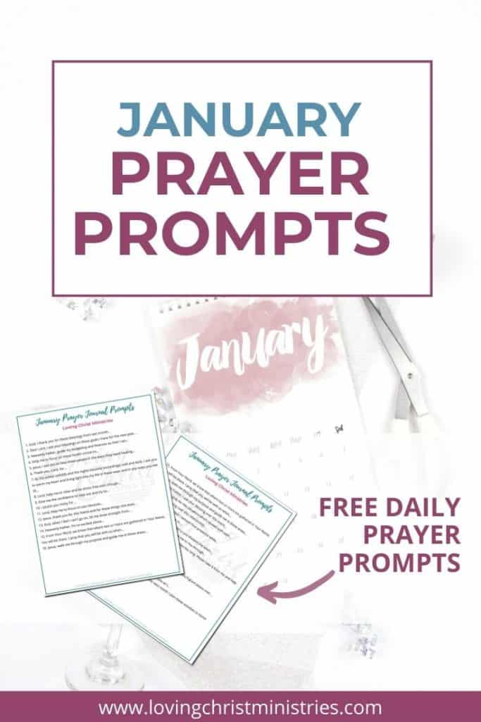 image of January calendar page with title text overlay - January Prayer Journal Prompts