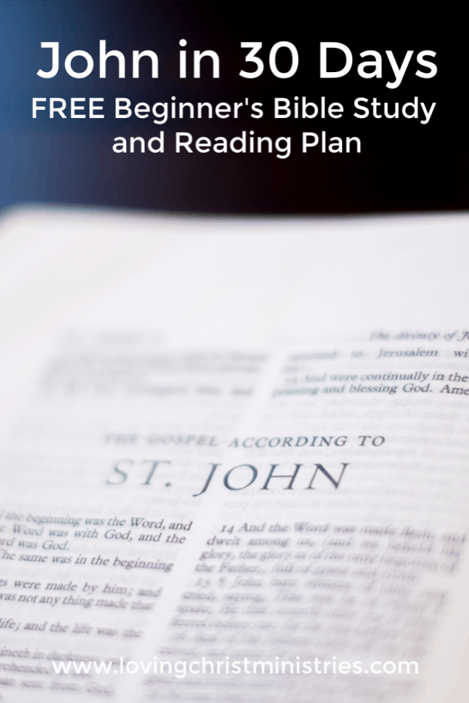 image of Bible opened to John with title text overlay - John in 30 Days | Beginner's Bible Study and Reading Plan