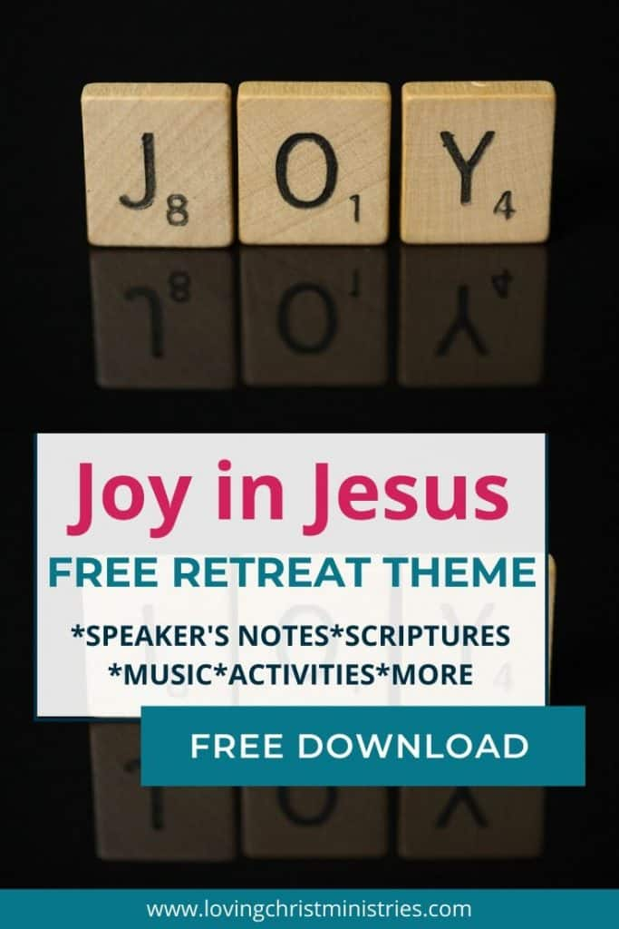 image of scrabble tiles spelling joy with title text overlay - Joy in Jesus Free Christian Women's Retreat Theme
