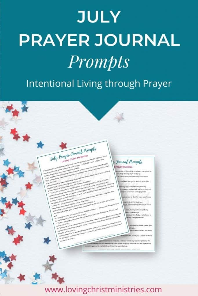 image of white background with red, white, and blue stars and title text overlay - July Prayer Journal Prompts