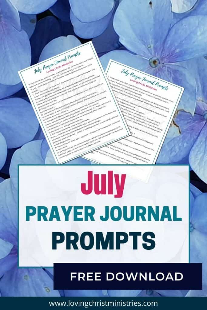 image of blue flowers with title text overlay - July Prayer Journal Prompts