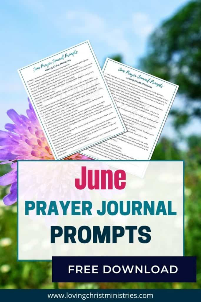 image of purple flowers and title text overlay - June Prayer Journal Prompts