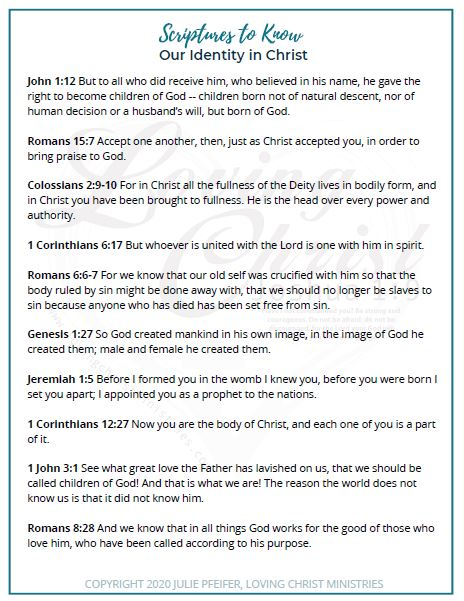 image of first page of scriptures to know our identity in Christ