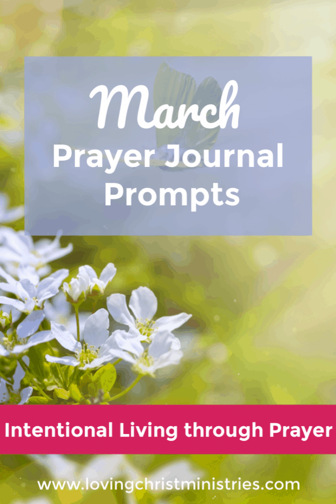 Small light purple flowers in nature with title text overlay - March Prayer Journal Prompts.