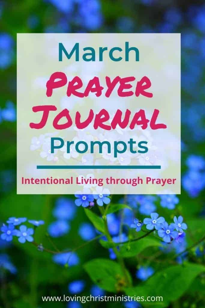image of blue forget me not flowers with title text overlay - March Prayer Journal Prompts