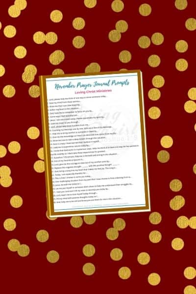 brown background with gold dots and title text overlay - November Prayer Journal Prompts