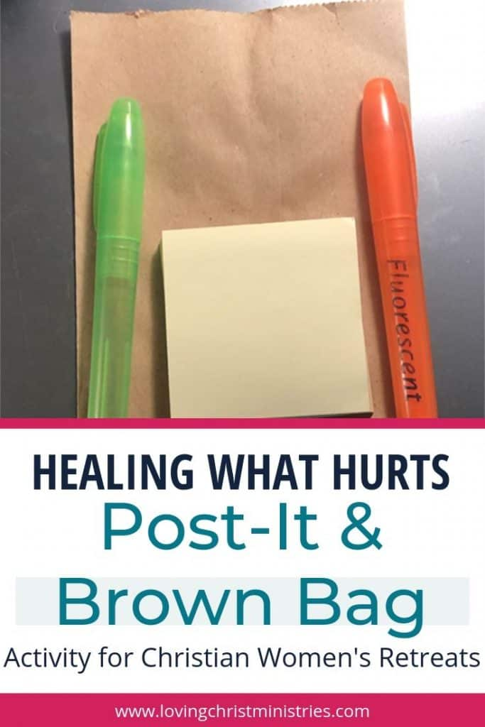image of brown bag, post-it notes, and highlighters with title text overlay - Post It and Brown Bag Activity