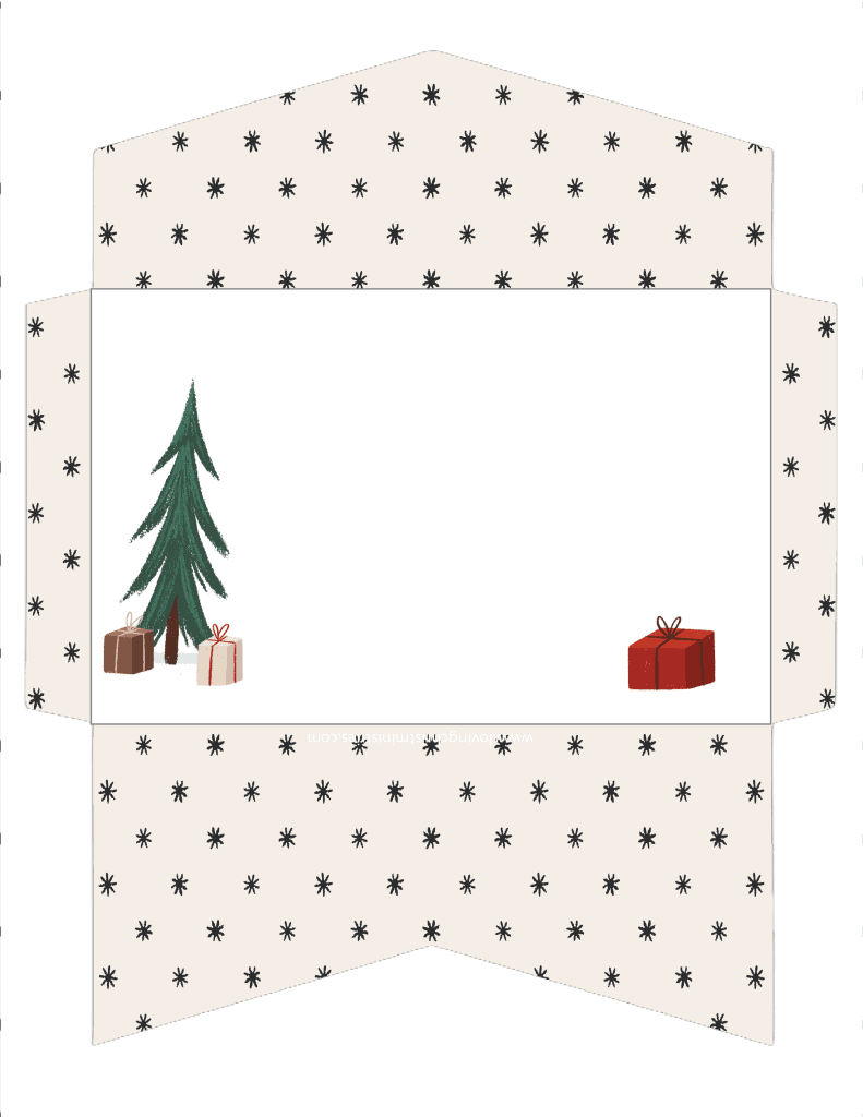 image of Tree and Presents Christmas Cash Envelope