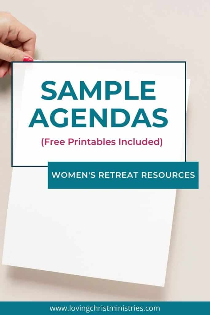 image of woman holding blank page with title text overlay - Sample Retreat Agendas