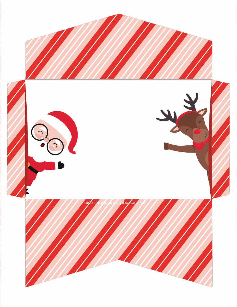 image of Santa and Reindeer Christmas Cash Envelope