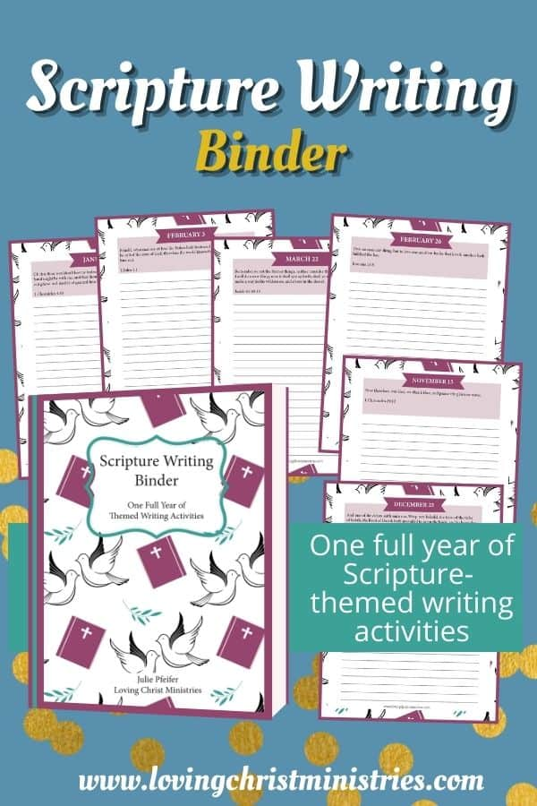 image of pages from the Scripture Writing Binder with title text overlay - Scripture Writing Binder (400+ Pages)