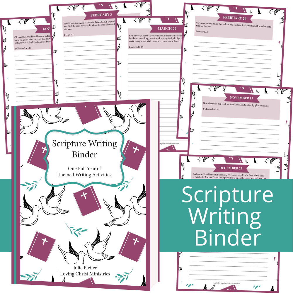 image of pages from the Scripture Writing Binder