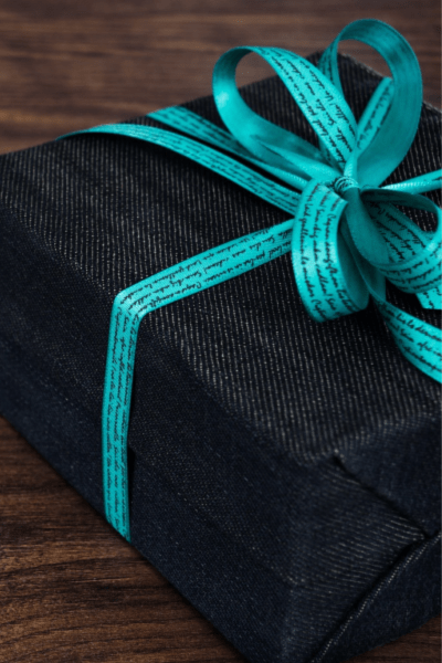 image of denim wrapped gift