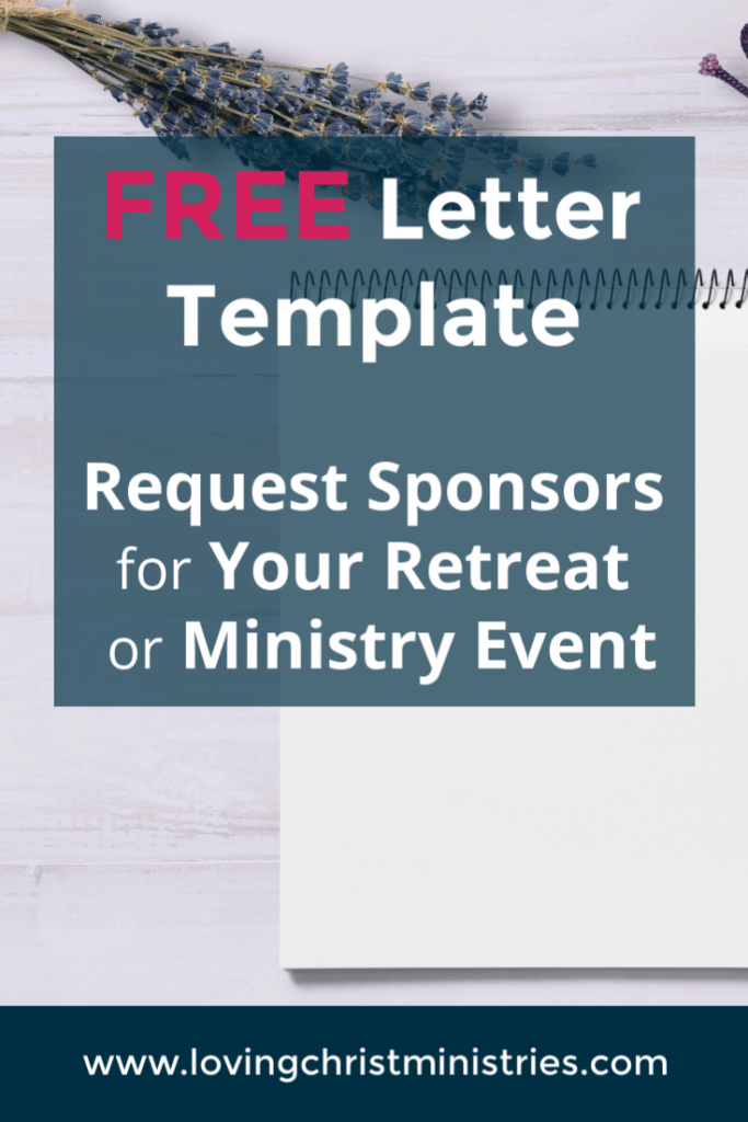 image of blank spiral notebook with title text overlay - How to Request Sponsors for a Women's Retreat - Free Letter Template