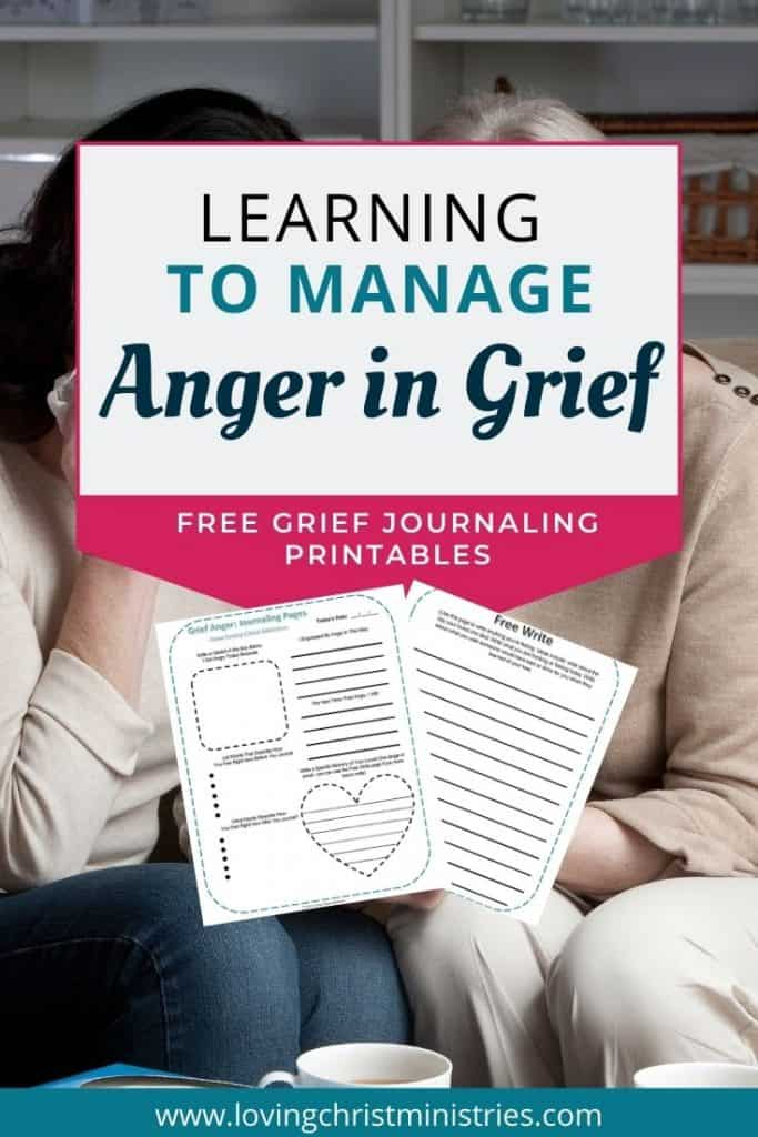 image of two women consoling one another with title text overlay - Learning to Manage Anger in Grief