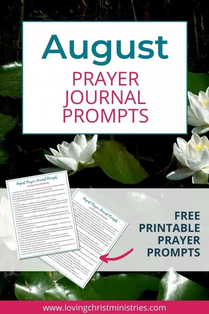 image of lotus flowers with title text overlay - August Prayer Journal Prompts