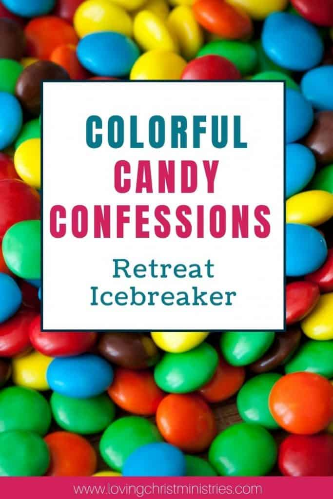 image of colored candies with title text overlay - Colorful Candy Confession Icebreaker