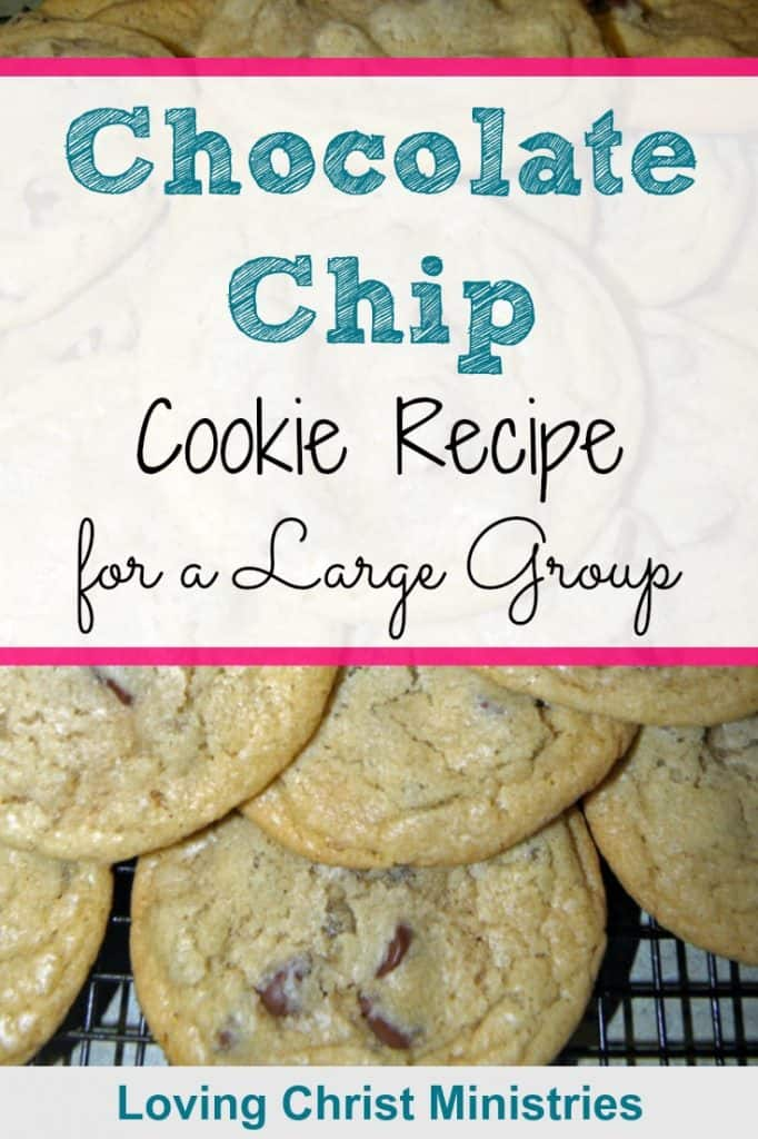 image of chocolate chip cookies on cooling rack with title text overlay - Chocolate Chip Cookie Recipe for a Large Group