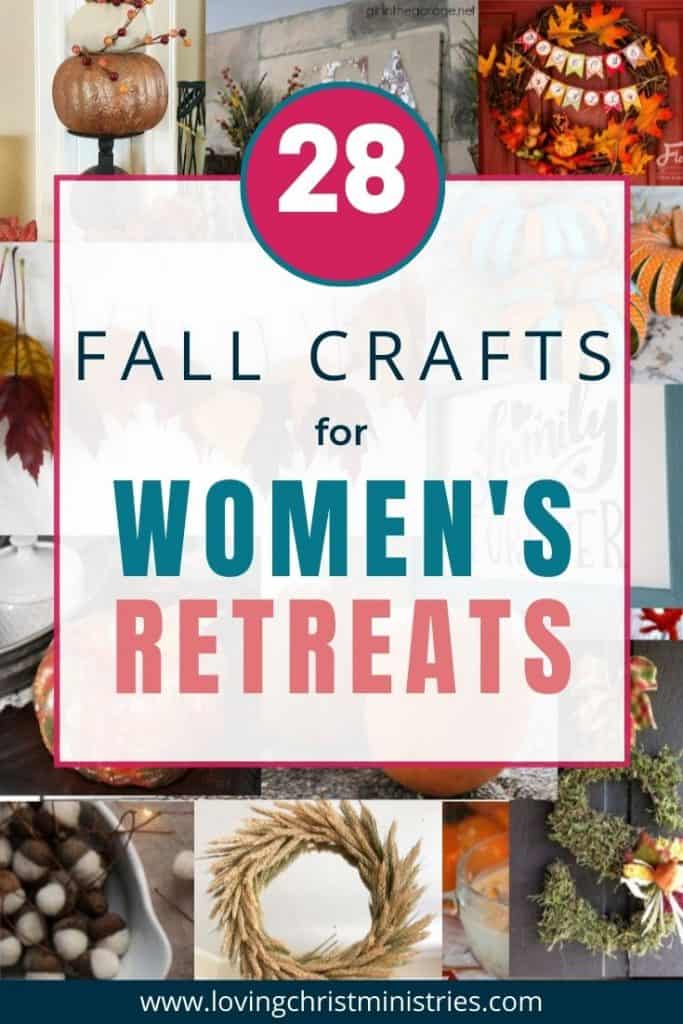 collage of fall crafts with title text overlay - Fall Crafts for Women's Retreats