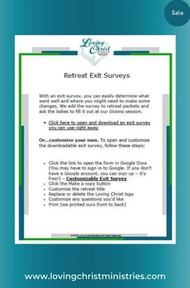 image of retreat exit survey from the Loving Christ Ministries shop
