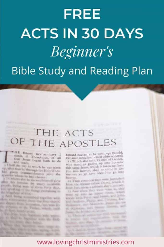 image of first page of book of Acts with title text overlay - Acts in 30 Days | Beginner's Bible Study and Reading Plan