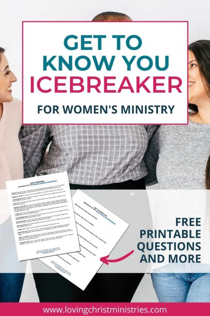 image of 3 women together with title text overlay - Get to Know You Icebreaker