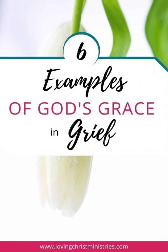image of upside down white flower with title text overlay - 6 Examples of God's Grace in Grief