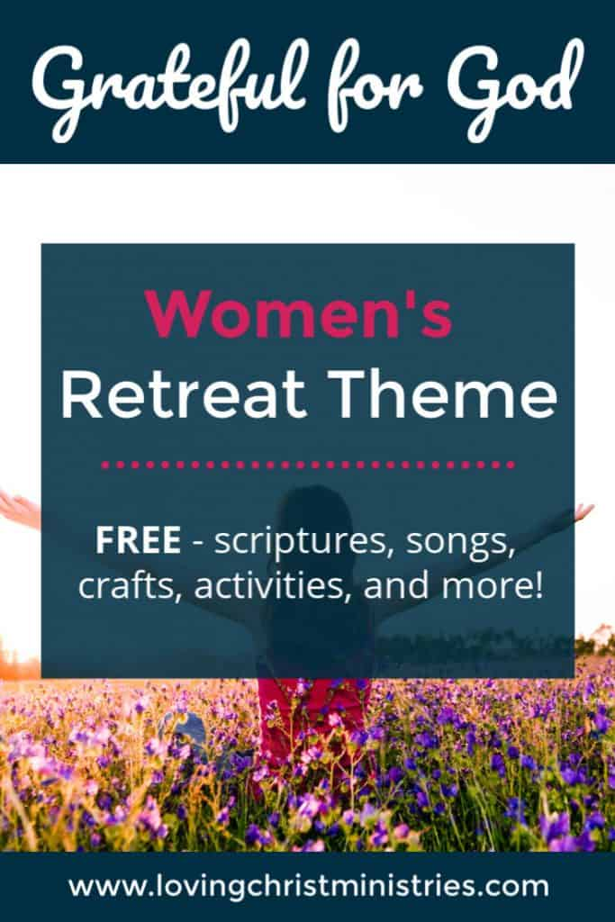Woman with outstretched arms standing in field of colorful purple flowers with title text overlay - Grateful for God Women's Retreat Theme.