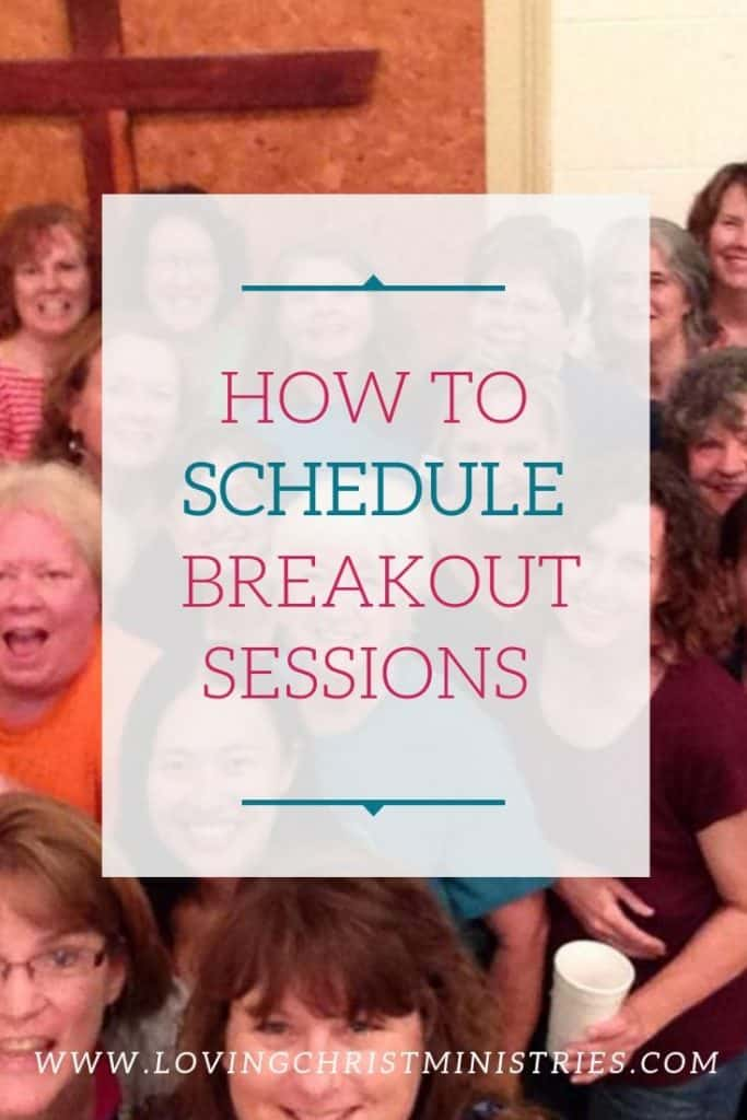 Group of women gathered in front of wooden wall cross with title text overlay - How to Schedule Breakout Sessions at Women's Retreats.