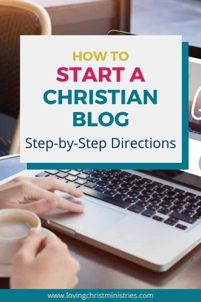 image of woman's hand on keyboard with title text overlay - How to Start a Christian Blog | Step-by-Step