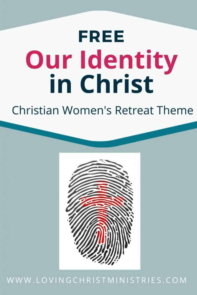 image of fingerprint with red cross in the middle and title text overlay - Our Identity in Christ Christian Women's Retreat Theme