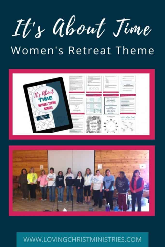 image of retreat theme bundle and a retreat with title text overlay - It's About Time FREE Christian Women's Retreat Theme