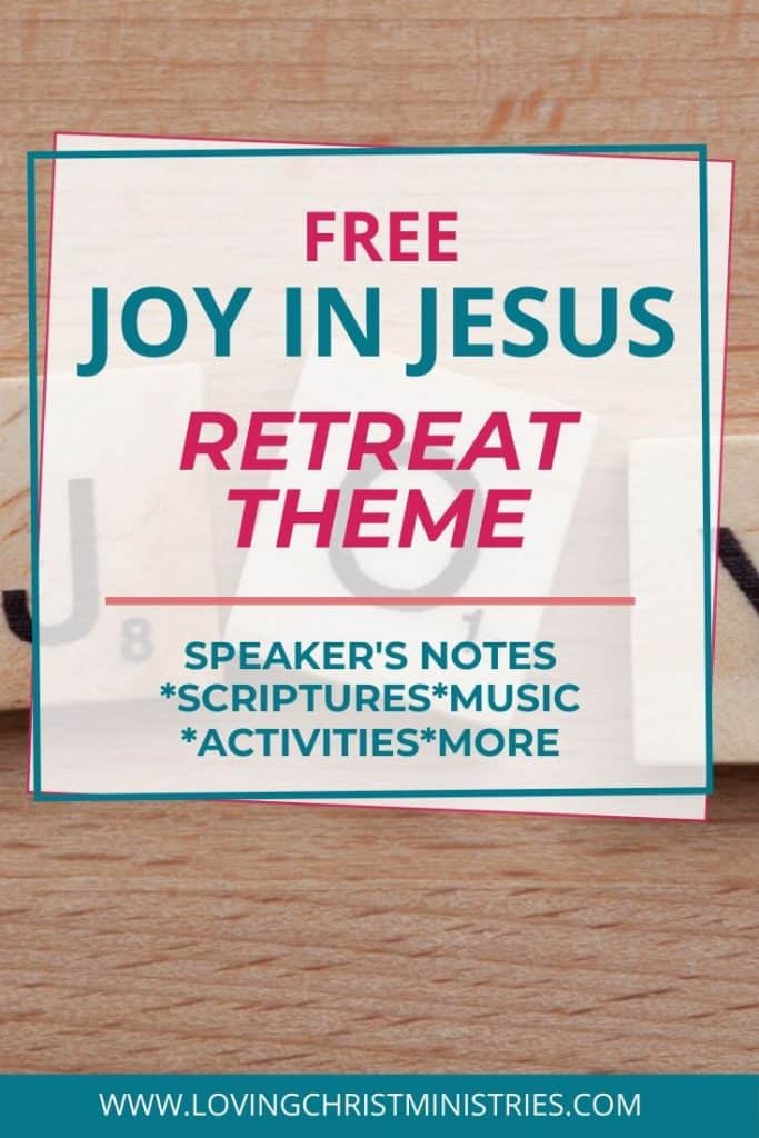 image of joy scrabble tiles on tan background with title text overlay - Joy in Jesus Free Christian Women's Retreat Theme