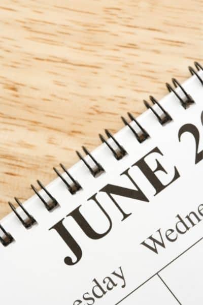 image of June calendar page