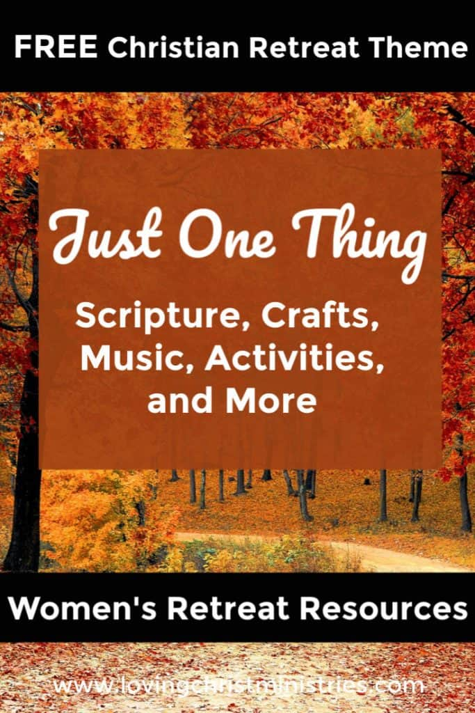 Fall trees lining a road with title text overlay - Just One Thing Women's Retreat Theme.