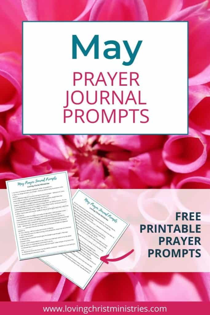image of pink flowers with title text overlay - May Prayer Journal Prompts